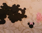 Small 1 inch Minnie Mouse Head Ear Tiny Medium Pink Bow Shapes Die Cut pieces 4 crafts Bags Tags DIY Kids Crafts Birthday Party etc.