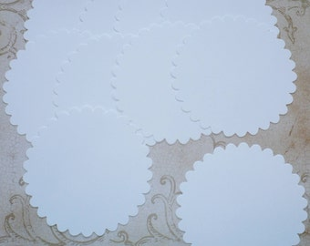 10 pc Large Scallop Circles Die Cuts cut from White Cardstock 4 DIY Banners  Wedding Tags Crafts Labels