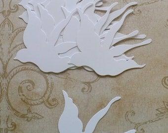 Die Cut Sizzix Birds / Birds in Flight - White Cardstock for Weddings Crafts Mobiles Scrapbooking