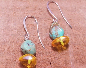 Stones Throw Turquoise and Baltic Amber Earrings-Turquoise Jewelry-Baltic Amber Earring