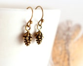 Dainty Pine Cone Earrings, Small Pinecone Earrings, Tiny Dangling Earrings, Simple Woodland Jewelry, Antique Bronze Jewelry
