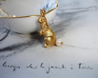 Cottontail Rabbit Charm Necklace, Vintage Brass, Freshwater Pearl, Gold Fill, Sweet and Dainty, Whimsical