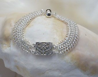 Bracelet: Marcasite Connector on Argentium Silver European 4-in-1 weave