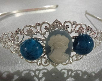 Fun Find Headband, Vintage, Metal Filigree Headband, Blue Cameo Hair Piece,  Silver Headband, Cameo Accessory, Sister Gift