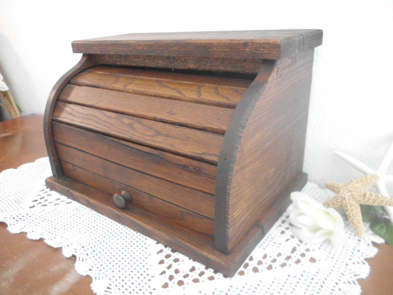 Bread Box Wood Brown Vintage Wooden Storage Kitchen Rustic