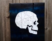 Smokey Skull Halloween Wall Decor Glows in Black Light made from Reclaimed Pallet Wood
