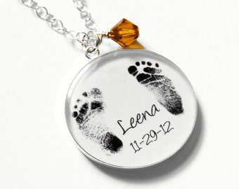 Baby Footprint Necklace - Mother's Necklace - Mother's Day - Baby Footprints - Footprint Jewelry - Infant Loss - Baby Memorial Jewelry