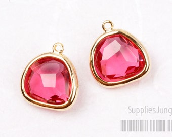 F119-01-G-RB // Gold Framed Ruby Glass Stone Pendant, 2Pcs