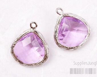 F100-S-LA// Rhodium Framed Lavender Faceted Glass Stone Pendant, 2 pcs
