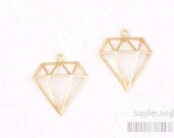 P331-01-MG// Matt Gold Plated Mini Diamond Pendant, 2pcs