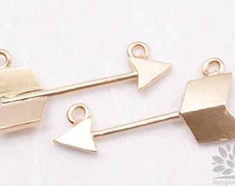 P413-01-MG// Matt Gold Plated Arrow Pendant, 2Pcs