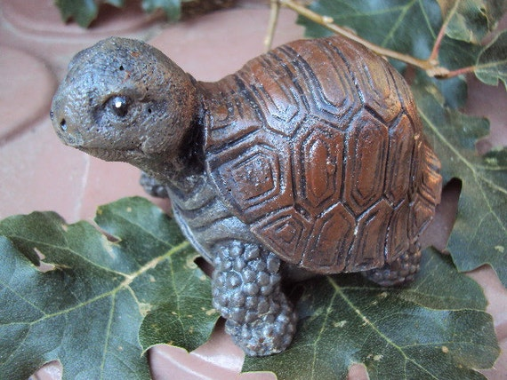 Turtle,  Stone,  ooak Finish,  Hand cast and painted,  Inside Outside, 8oz.