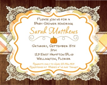 Rustic Fall Pumpkin Baby Shower Invitation Printable