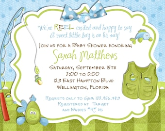 Fishing Boy Baby Shower Invitation -Fish Tackle and Rod - Custom and Printable Invite