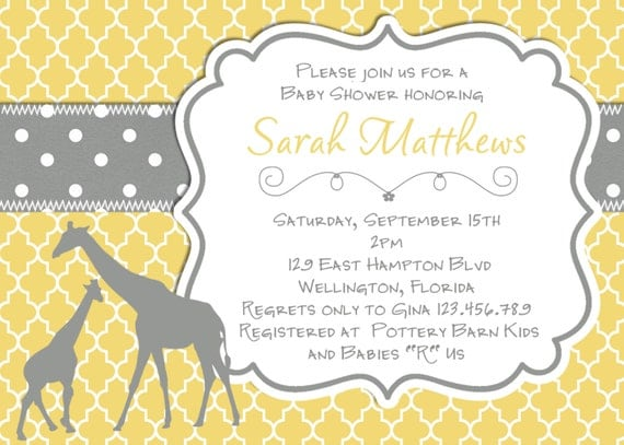 mod giraffe baby shower invitation yellow gray trefoil