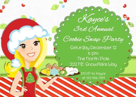 Christmas Cookie Exchange Christmas Party Invitation  Printable Design
