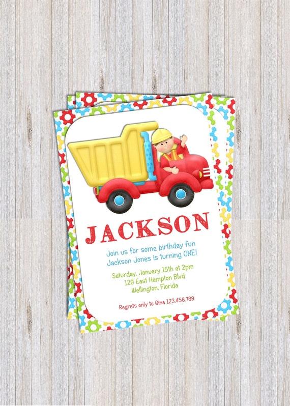 Construction Dump Truck Boy Birthday Invitation