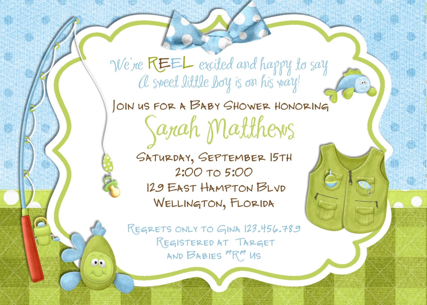 Fishing Boy Baby Shower Invitation Fish Tackle And Rod