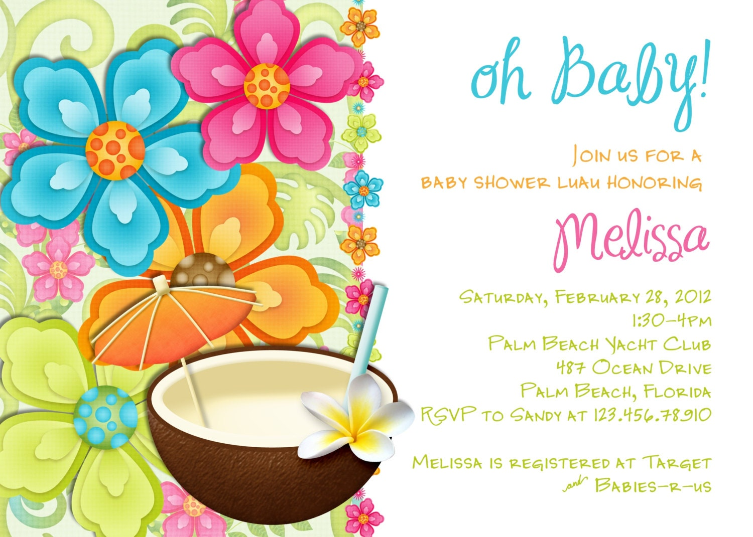 luau baby shower invitation tropical hawaiian hula party