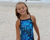Blue and Black Geometric Disco Inferno Print Girls Racerback Durafast Elite Swimsuit Bathing Suit Thin Strap