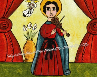 "Saint Cecilia, ""Patron of Musicians,"" New Mexico Santo, Icon, Christian, Folk Art, Postcards, Mexico, Religious Art, Mexican Art, Catholic"