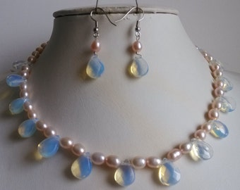 PEARL SET- 17inch 6-7mm lavender pearl & moonstone necklace  earring set