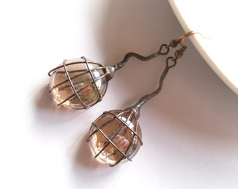 Contemporary jewelry, wire jewelry, beige glass lens, birthday gift, bohemian earrings, trendy earrings, boho, funky jewelry, Beige berry