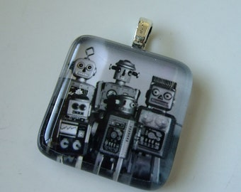 Necklace - Glass Tile Pendant - sale clearance toy robot army