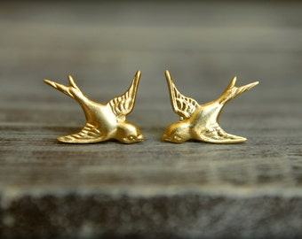 Flying Sparrow Earrings in Raw Brass, Stainless Steel Posts