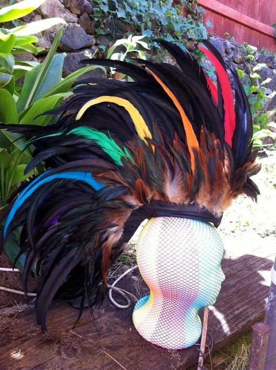 """Customizable Feather Mohawk / Headdress - """"Rainbow Warrior"""""""