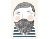 Print by Depeapa - Bearded man illustration - 8 x 11.5 - A4