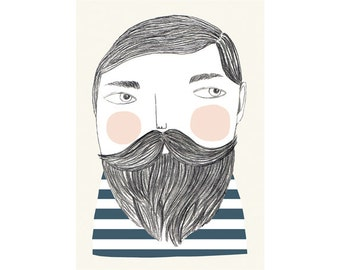 Print by Depeapa - Bearded man illustration - 8 x 11.5 - A4
