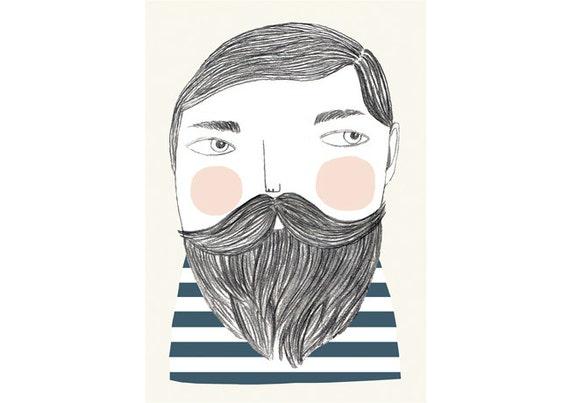 Bearded - print - 8 x 11.5 - A4
