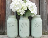 Shabby Chic Sage Green Half Gallon Mason Jars, Wedding Mason Jars, Large Jar Vases - sixtybeansVntg