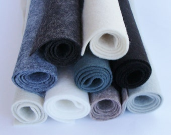 Black White Greys 9 Color Pack Merino Wool Felt Blend Fabric Sheets