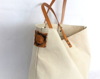 VINTAGE TOTE... Natural Beige... PERSONALIZED label