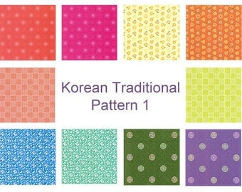 Korean Traditional Patterns, Plain Colors I- Double Sided Origami Paper- 20 Sheets