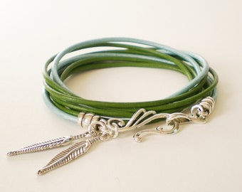green leather wrap bracelet, personalized leather charm bracelet, boho chic cuff, rocker style, stacking bracelet