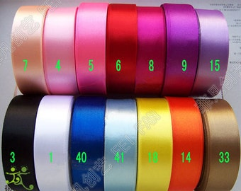 "7/8"" 22mm 5 yards Satin RIBBON 14 color options U pick hairbow scarpbook"