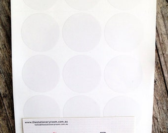 Medium Round Clear Sticker Seals - 3.0 cm Round Sticker Seals - 60 Blank Seals