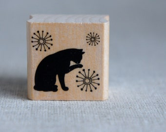 Wooden Rubber  Stamp - Cat