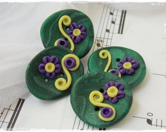 Large Green Buttons, Floral Clay Buttons, Fairy Garden Buttons, Polymer Clay Buttons, Sewing Supplies, Elven Clay Buttons, Floral Buttons