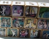 Wood Alphabet and Numbers Where The Wild Things Are Story Blocks