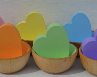 "Babies First Montessori Wooden Sensory Toy Counting Sorting Hearts Pastel or Bright Rainbow  Six 2"" Chunky Hearts (Bowls not included)"