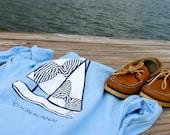 Light Blue Sailboat Monogram Pocket T-Shirt