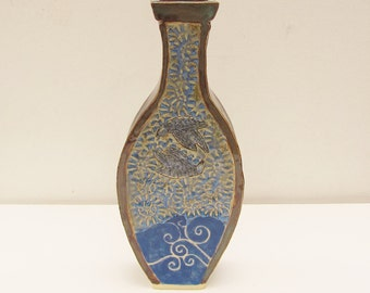 blue ceramic vase hand built pottery ceramics and pottery
