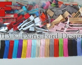 100 Grosgrain Ribbon Partially Covered Single or Double Prong Alligator Clips 1.75 inches