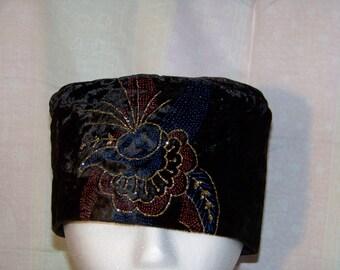 Velvet KUFI/ Pillbox hat