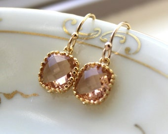 Dainty Champagne Blush Earrings Gold Plated - Peach Bridesmaid Earrings - Wedding Earrings - Champagne Wedding Jewelry - Bridal Earrings