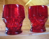 2 Ruby Red Glass Georgian Tumblers Water Glasses w Hint of Amberina on Bases 4 Inch Tall